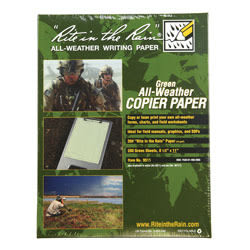 """Rite in the Rain® Tactical All-Weather Copier Paper, Letter Size (8 1/2"""" x 11""""), Green, Ream Of 200 Sheets"""