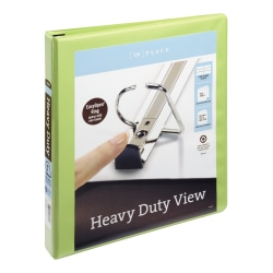 """[IN]PLACE Heavy-Duty View Binders with EZ Comfort D-Ring 1"""", Kiwi"""