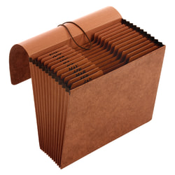 """Office Depot® Brand Paper Expanding File With Flap, 12 Pocket, Expansion 2"""", 8 1/2"""" x 11"""", Letter, 30 % Recycled, Brown, Pack of 1"""
