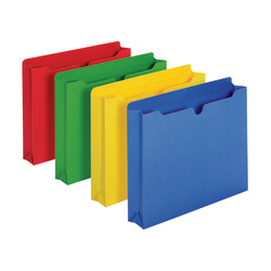 "Office Depot® Brand Color File Jackets, 2"" Expansion, 8 1/2"" x 11"", Letter Size, Assorted Colors, Pack Of 10 Jackets"