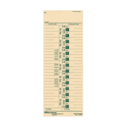 """OfficeMax 1-Sided Weekly Time Cards With Numbered Days, 3 3/8"""" x 9"""", Pack Of 200"""