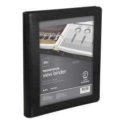 "Office Depot® Brand Premium Leatherette Presentation View 3-Ring Binder, 1"" Round Rings, Black"