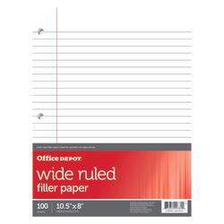 Office Depot® Brand Filler Paper, Wide Ruled, 92 Brightness, 16 Lb, Pack Of 100 Sheets