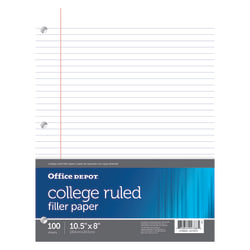 Office Depot® Brand Filler Paper, College Ruled, 92 Brightness, 16 Lb, Pack Of 100 Sheets