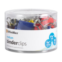 OfficeMax® Brand Binder Clips, Medium, Multicolored, Pack Of 24