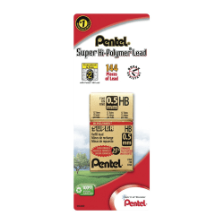 Pentel® Super Hi-Polymer Fine Line Lead Refills, 0.5 mm, HB Hardness, Pack Of 144