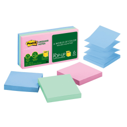 """Post it® Greener Pop up Notes, 100% Recycled, 3"""" x 3"""", Helsinki, Pack Of 6 Pads"""