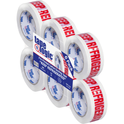 """Tape Logic® Pre-Printed Carton Sealing Tape, Keep Refrigerated, 2"""" x 110 Yd, White/Red, Case Of 6"""