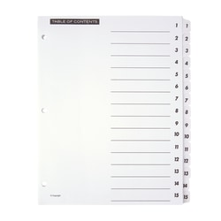 """OfficeMax® Brand Preprinted Index Dividers, Numbers 1-15, 8 1/2"""" x 11"""", 30% Recycled, Black/White, Set Of 15"""