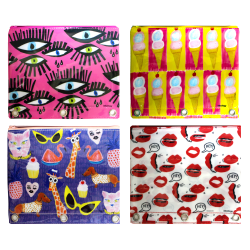Inkology Bouffants & Broken Hearts Binder Pencil Pouches, Assorted Colors, Pack Of 8 Pouches