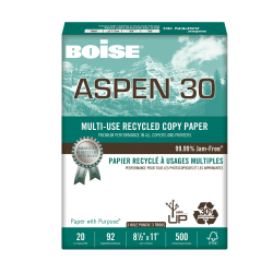 "Boise® ASPEN® 30 Multi-Use Paper, Letter Size (8 1/2"" x 11""), 3-Hole Punched, 30% Recycled, FSC® Certified, 500 Sheets"