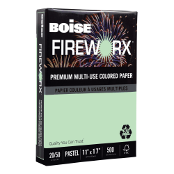"""Boise® FIREWORX® Multi-Use Color Paper, Ledger (11"""" x 17""""), 20 Lb, 30% Recycled, FSC® Certified, Popper-Mint Green, Ream Of 500 Sheets"""