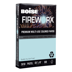 "Boise® FIREWORX® Premium Multi-Use Color Paper, Legal Size (8 1/2"" x 14""), 20 Lb, 30% Recycled, FSC® Certified, Bottle Rocket Blue, Ream Of 500 Sheets"