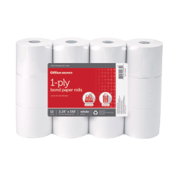 "Office Depot® 1-Ply Bond Paper Roll, 2-1/4"" x 150', 30% Recycled, White, Pack of 12"