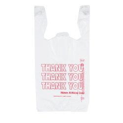 "Inteplast Hilex Poly Thank You Bags, 21""H x 11 1/2""W x 6 1/2""D, White, Pack Of 500"