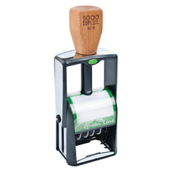 """Cosco 2000PLUS Green Line Heavy-Duty 4-In-1 Self-Inking Message Dater, 1 1/4"""" x 1 13/16"""", 75% Recycled, Blue/Red"""