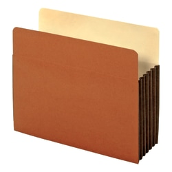 """Globe-Weis® Watershed® Premium Reinforced File Pockets, 5 1/4"""" Expansion, Letter Size, Brown, Box Of 10"""