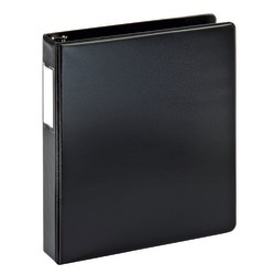 "Office Depot® Brand Durable Round-Ring Reference 3-Ring Binder With Label Holder, 1 1/2"" Round Rings, 64% Recycled, Black"
