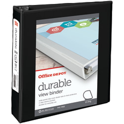 "Office Depot® Brand Durable View Slant-Ring Binder, 2"" Rings, 39% Recycled, Black"