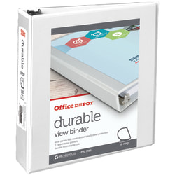"""Office Depot® Brand Durable View 3-Ring Binder, 2"""" Slant Rings, 59% Recycled, White"""