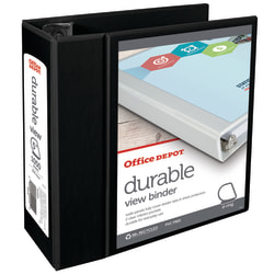 """Office Depot® Brand Durable View 3-Ring Binder, 5"""" Slant Rings, 59% Recycled, Black"""