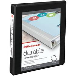 "Office Depot® Brand Durable View Slant-Ring 3-Ring Binder, 1"" Slant Rings, 49% Recycled, Black"