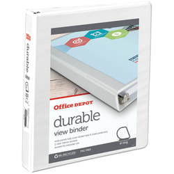 """Office Depot® Brand Durable View Slant-Ring 3-Ring Binder, 1"""" Slant Rings, 49% Recycled, White"""