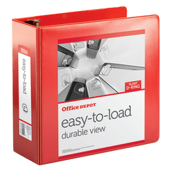 """Office Depot® Brand Heavy-Duty Easy-To-Load Slant D-Ring View Binder, 3"""" Rings, 56% Recycled, Rio Red"""