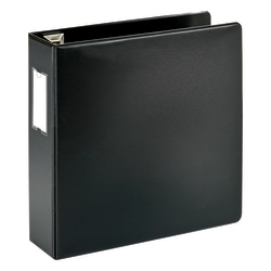 "Office Depot® Brand Heavy-Duty Label Holder Reference 3-Ring Binder, 3"" D-Rings, Black"