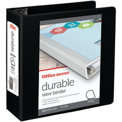 "Office Depot® Brand Durable View D-Ring Binder, 4"" Rings, 59% Recycled, Black"