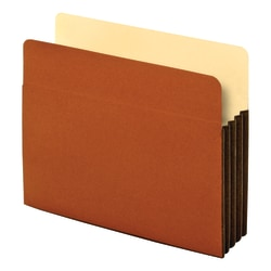"""Globe-Weis® Watershed® Premium Reinforced File Pockets, 3 1/2"""" Expansion, Letter Size, Brown, Box Of 10"""