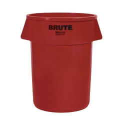 """Rubbermaid® Brute Round Plastic Trash Can, 31 1/2"""" x 24"""", 44 Gallons, Red"""