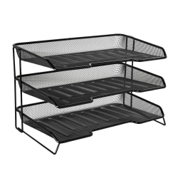 Rolodex® Mesh Stacked 3-Tier Desk Tray, Black
