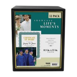 "Uniek Corporate Document Frames, 8 1/2"" x 11"", Black/Gold, Pack Of 12"
