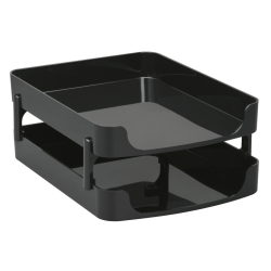 """Officemate® OIC® 2200 Series Letter Trays, Front-Load, 5 1/2"""" x 10"""" x 13 1/2"""", Black, Pack Of 2"""