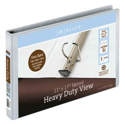 "[IN]PLACE® Heavy-Duty View 3-Ring Binder, 1"" D-Rings, White"