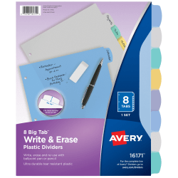 "Avery® Durable Write-On Plastic Dividers With Erasable Tabs, 8 1/2"" x 11"", Multicolor, 8 Tabs"