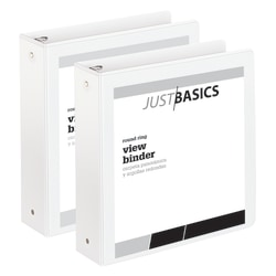 """Just Basics Economy Round-Ring View Binders, 2"""" Rings, 61% Recycled, White, Pack Of 2 Binders"""