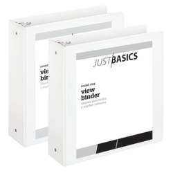 "Just Basics® Economy View 3-Ring Binder, 3"" Round Rings, 61% Recycled, White, Pack Of 2"