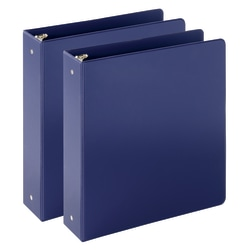 "Just Basics Economy Reference Binder, 2"" Rings, Blue, 64% Recycled, Pack Of 2 Binders"