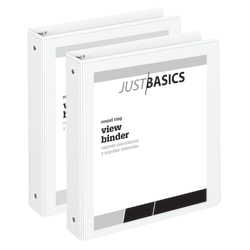 "Just Basics Economy Round-Ring View Binders, 1 1/2"" Rings, 61% Recycled, White, Pack Of 2 Binders"