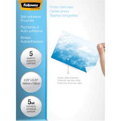 "Fellowes Self-Adhesive Pouches - Photo, 5mil, 5 pack - Laminating Pouch/Sheet Size: 6.25"" Width x 5 mil Thickness - Type G - Glossy - for Document, Photo, Luggage Tag - Self-adhesive, Durable - Clear - 5 Pack"