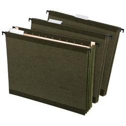 """Office Depot® Hanging Pockets With Full-Height Gussets, Letter Size (8-1/2"""" x 11""""), 3 1/2"""" Expansion, Green, Pack Of 4"""