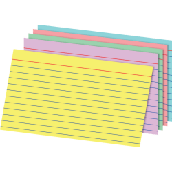 """Office Depot® Brand Rainbow Index Cards, Ruled, 5"""" x 8"""", Assorted Colors, Pack Of 100"""