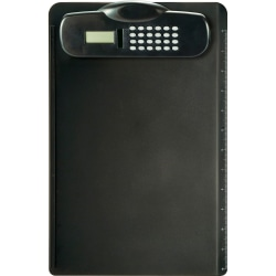 """OIC Calculator Clipboard with Built-in Ruler - 9"""" x 13 3/4"""" - Plastic - Black - 1 Each"""