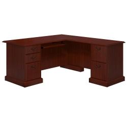 kathy ireland® Home by Bush Furniture Bennington L-Shaped Desk, Harvest Cherry, Standard Delivery