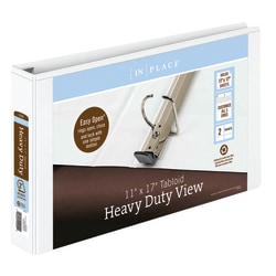 "[IN]PLACE® Heavy-Duty View 3-Ring Binder, 2"" D-Rings, White"