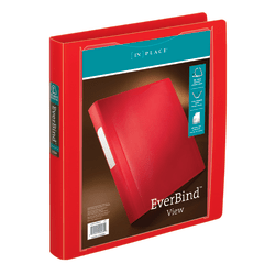 "Office Depot® Brand EverBind™ View 3-Ring Binder, 1"" D-Rings, Red"