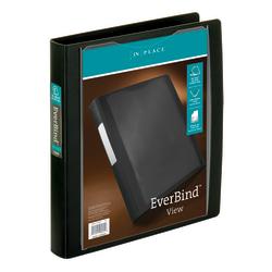"Office Depot® Brand EverBind™ View 3-Ring Binder, 1"" D-Rings, Black"