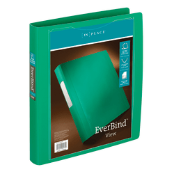 """Office Depot® Brand EverBind™ View 3-Ring Binder, 1"""" D-Rings, Green"""